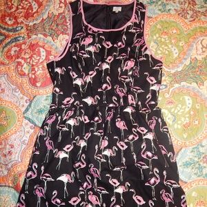 WOMENS CROWN & IVY DRESS FLAMINGOS 8 EXCELLENT